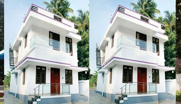 Photo of 3 bed room house Design With 3D Plan in 1350 sqft