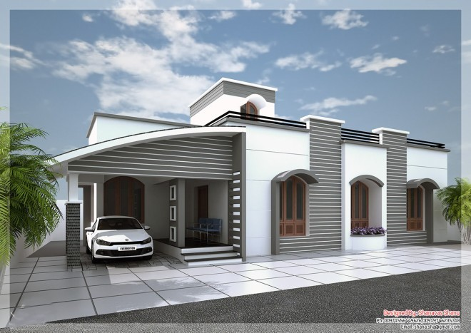 MODERN SINGLE FLOOR HOME DESIGN IN KERALA 1350 Sq.ft