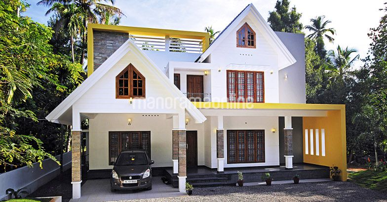 Photo of colourful contemporary home design at angamaly.2700 sqft