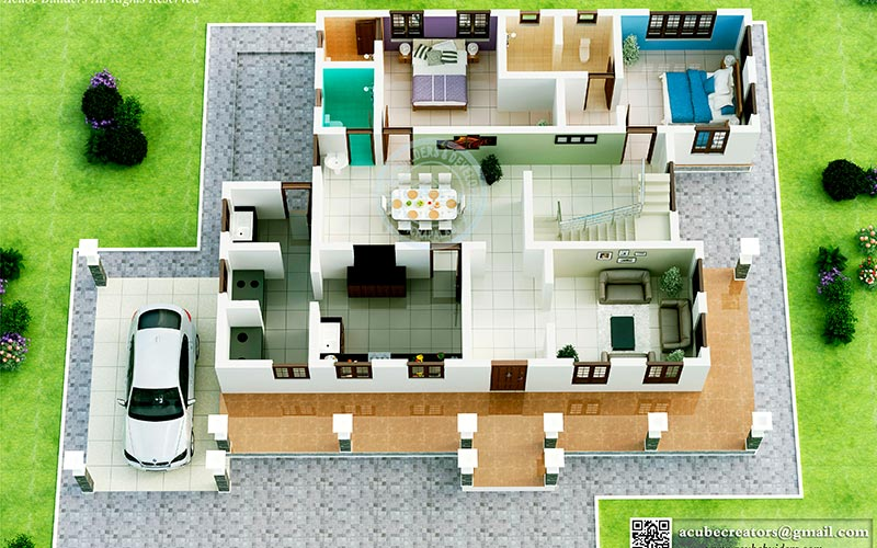 Photo of contemporary design 3D kerala home plans
