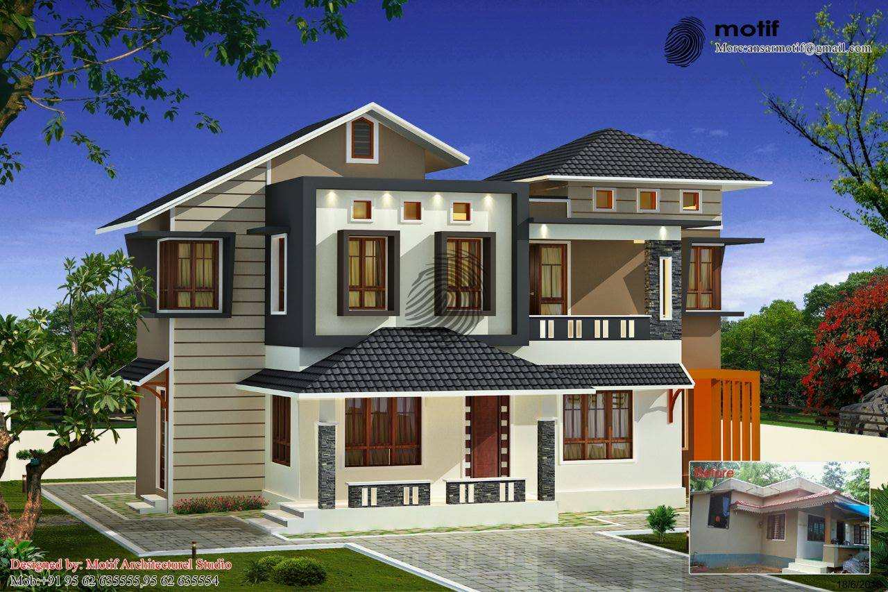 Photo of 1642 Square Feet 3BHK Double Floor Kerala Home Design With Plan