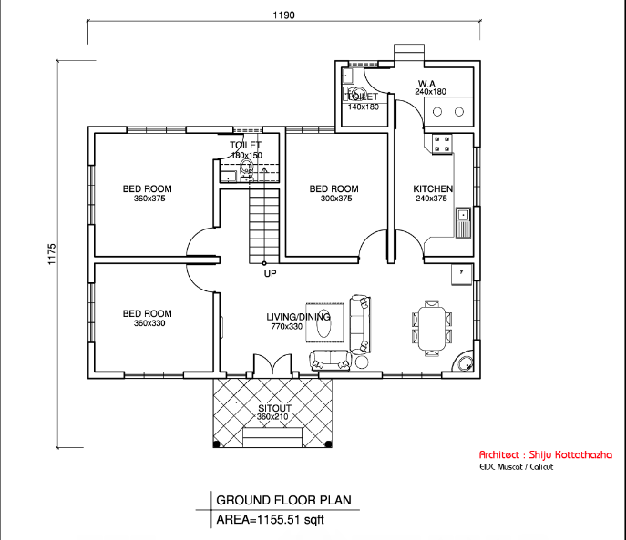 1155 square feet low budget kerala home design with plan for Kerala style low budget home plans