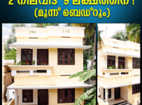 Double Floor 3 Bedroom Kerala Home Design In 2 Cent Plot For 9 Lac