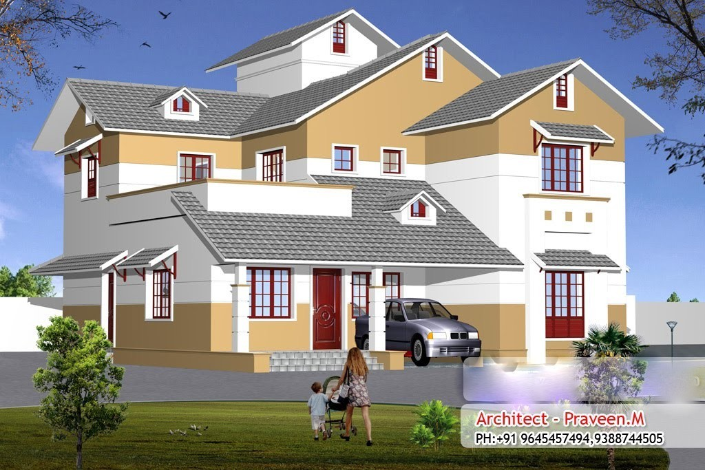 2410 square feet 4bhk double floor kerala home design with for Kerala home designs photos in double floor