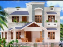 Contemporary Kerala Home Design 3D Elevation With Plan
