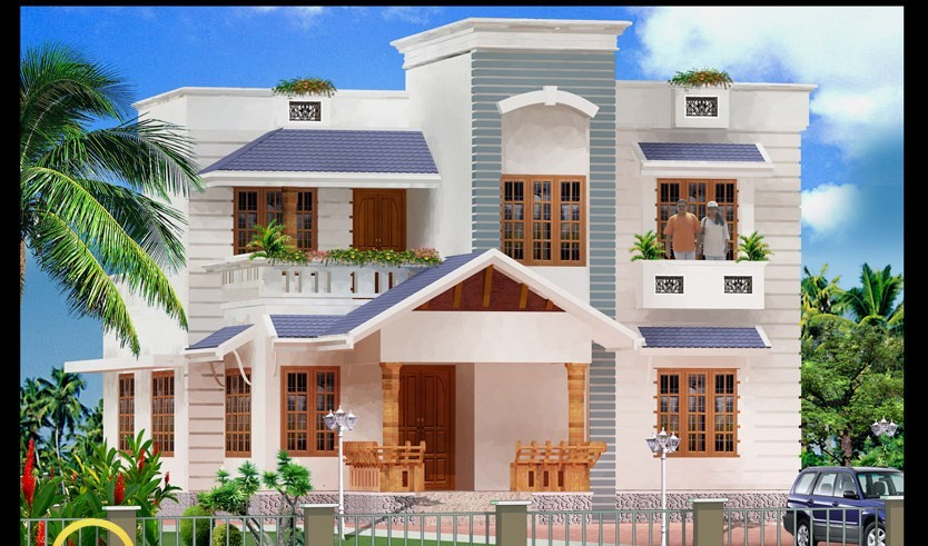 Photo of Contemporary Kerala Home Design 3D Elevation With Plan
