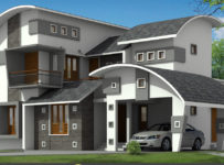 2377 Square Feet Contemporary House Plan and Elevation