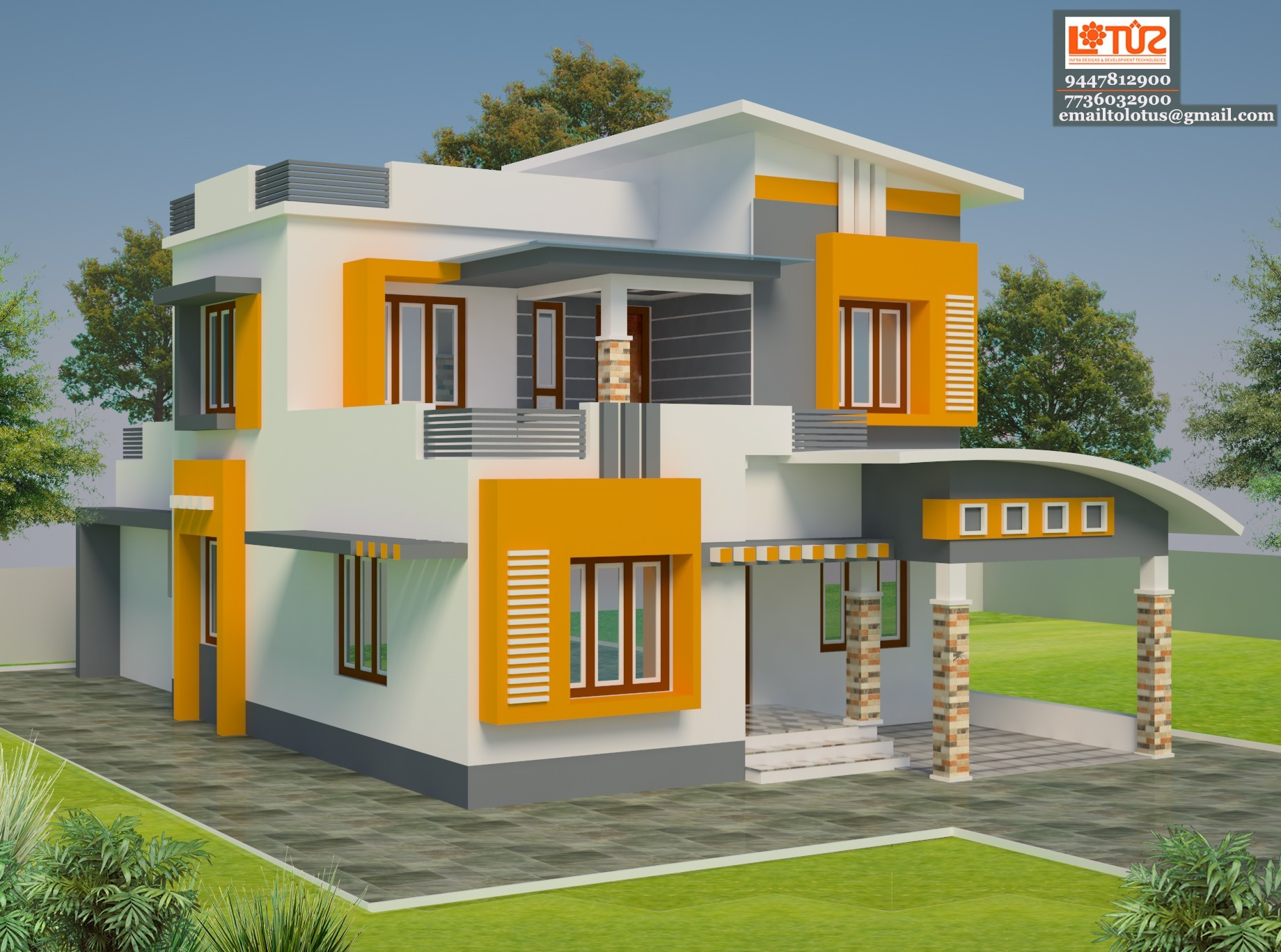 2200 square feet 4 bedroom simple contemporary home design for Simple kerala home designs