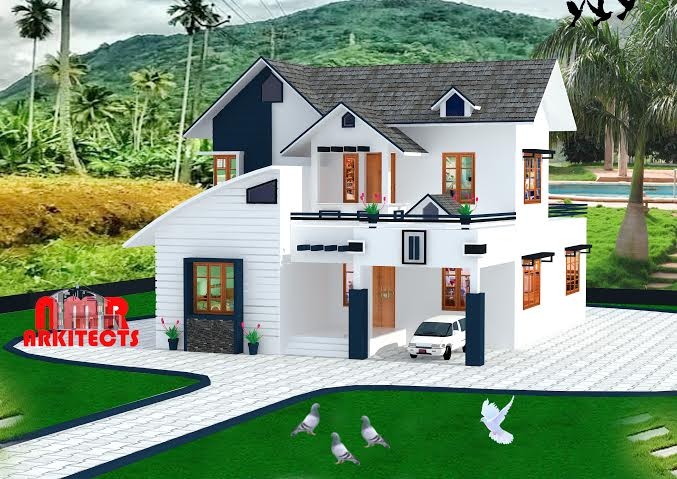 1770 Square Feet 3 Bedroom Sloping Roof Home Design