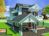 2800 Square Feet 4 Bedroom Sloping Roof Modern Home Design
