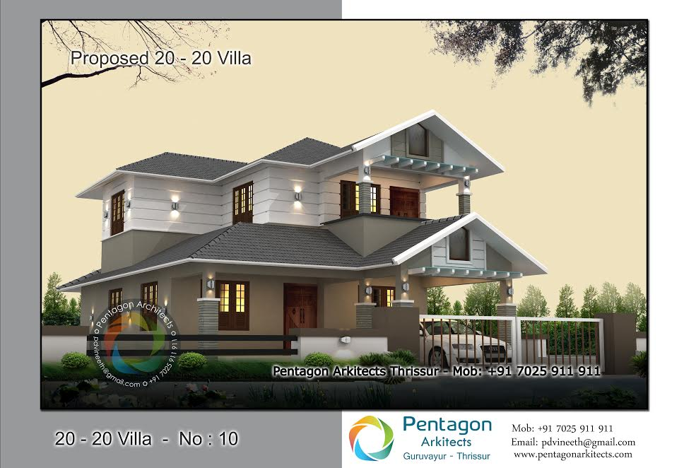 1940 Square Feet 3 Bedroom Double Floor Modern Home Design and Plan
