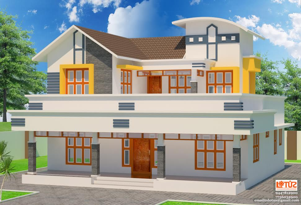 Photo of 2054 Square Feet 5 Bedroom Double Floor Home Design For 33 Lacks