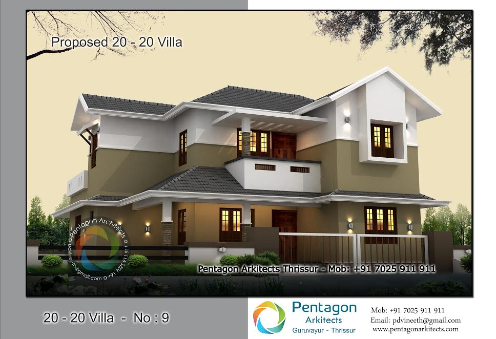 Photo of 1974 Square Feet 3 Attached Bedroom Sloping Roof Modern Home Design and Plan