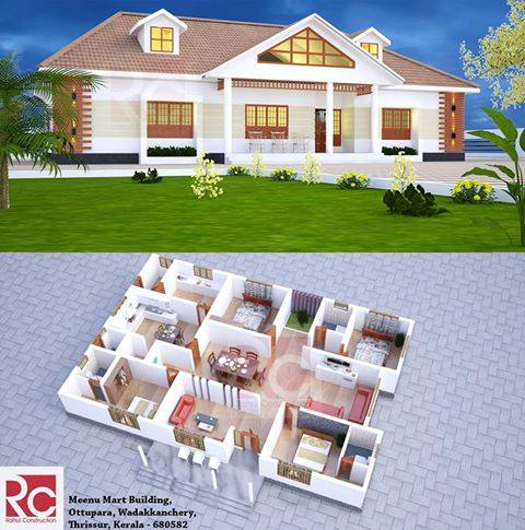 2800 Square Feet 4 Bedroom Single Floor Modern Home Design and 3D Plan