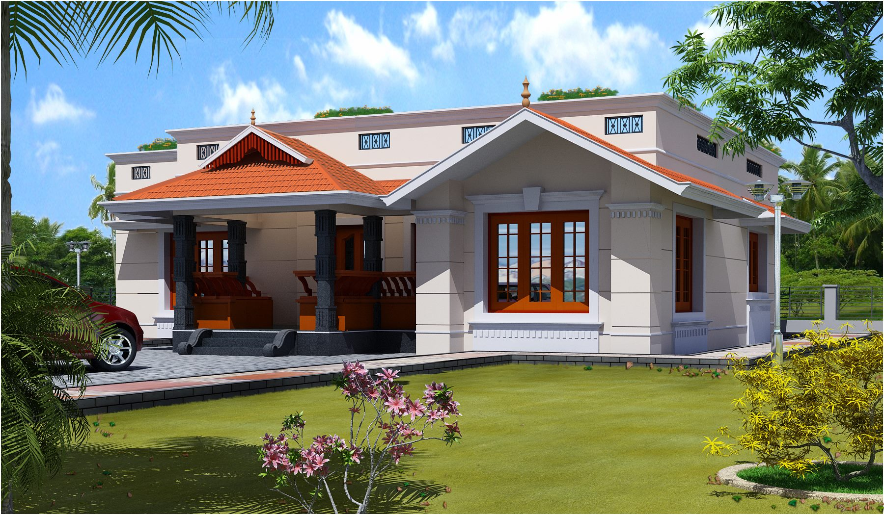 1700 square feet 3 bedroom single floor low cost home for 3 bedroom low cost house plans