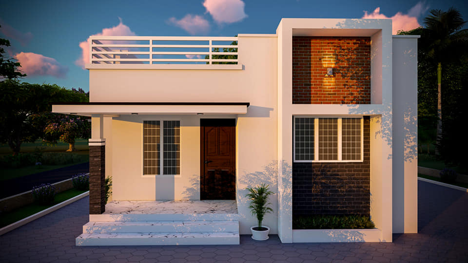 Photo of Low Cost House free Plan in Kerala – 840  sq ft