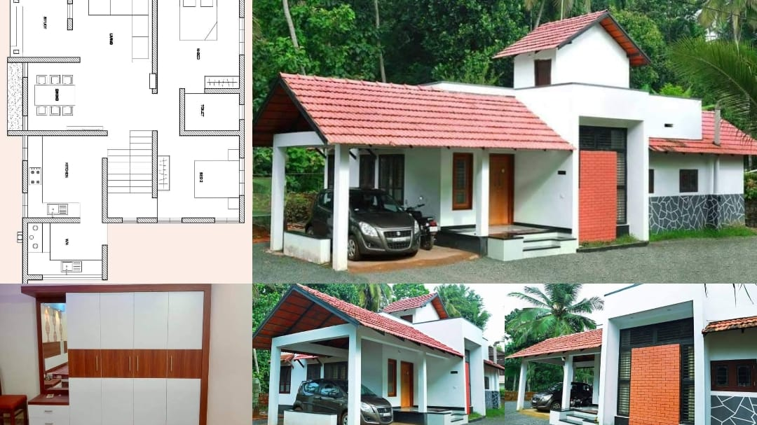 Photo of 1000 Square Feet 2 Bedroom Traditional Style Single Floor House and Plan
