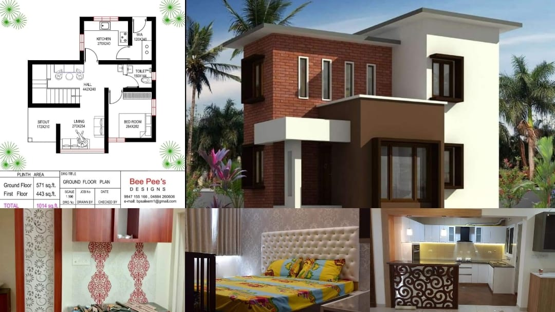 Photo of 1014 Square Feet 3 Bedroom Contemporary Style Double Floor House and Plan