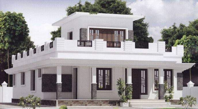 1043 Square Feet 2 Bedroom Single Floor Modern House and Plan