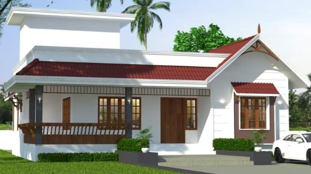 Photo of 1250 Square Feet 2 Bedroom Traditional Style House and Plan