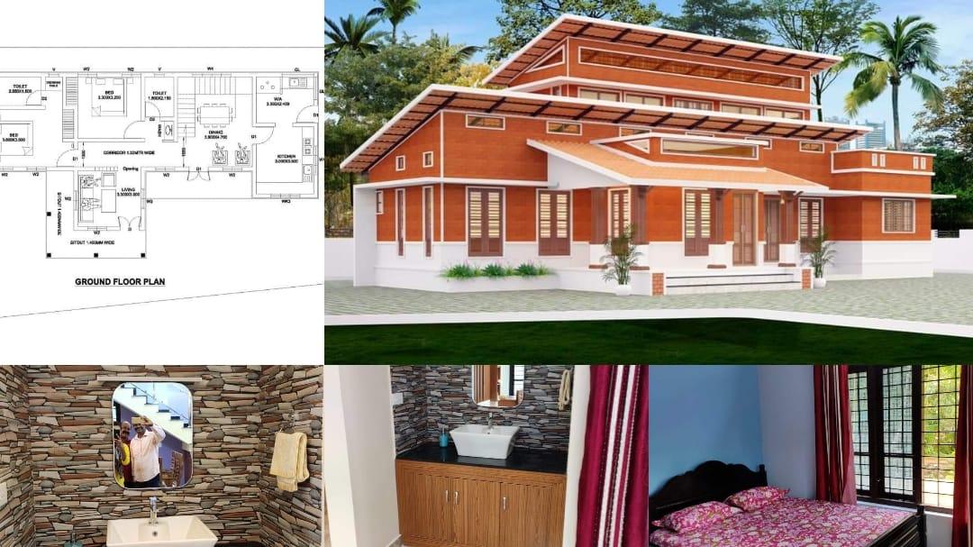 Photo of 1450 Square Feet 3 Bedroom Interlock Bricks House For 15 Lacks, Free Plan