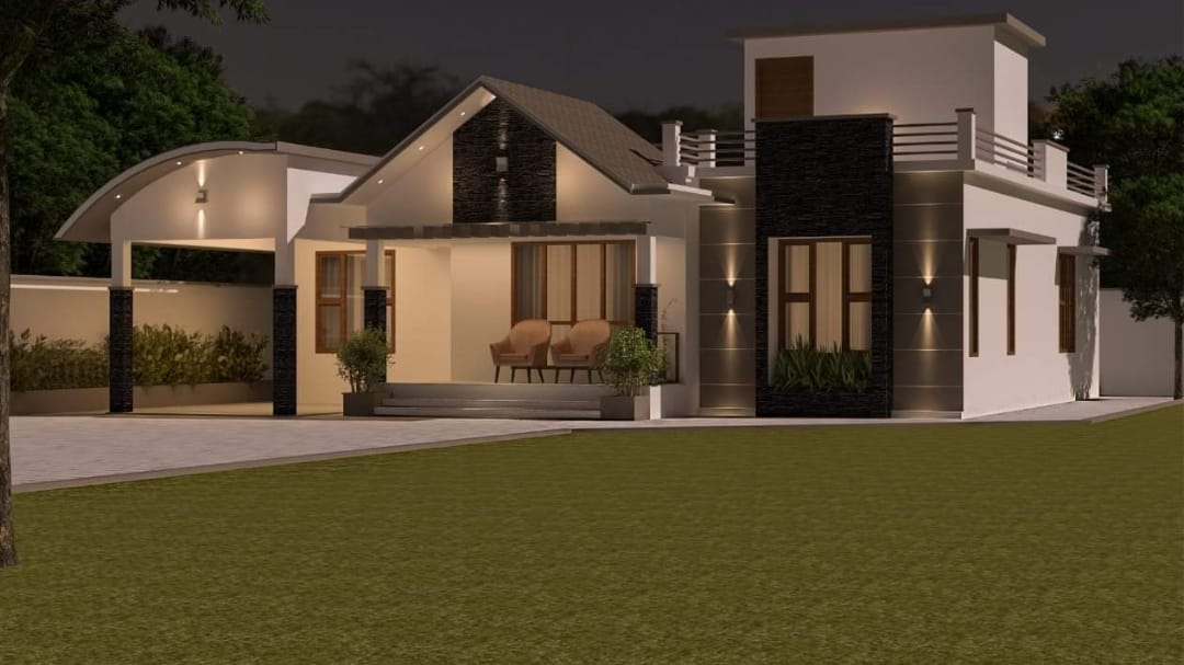 1550 Square Feet 3 Bedroom Beautiful Single Floor House and Plan