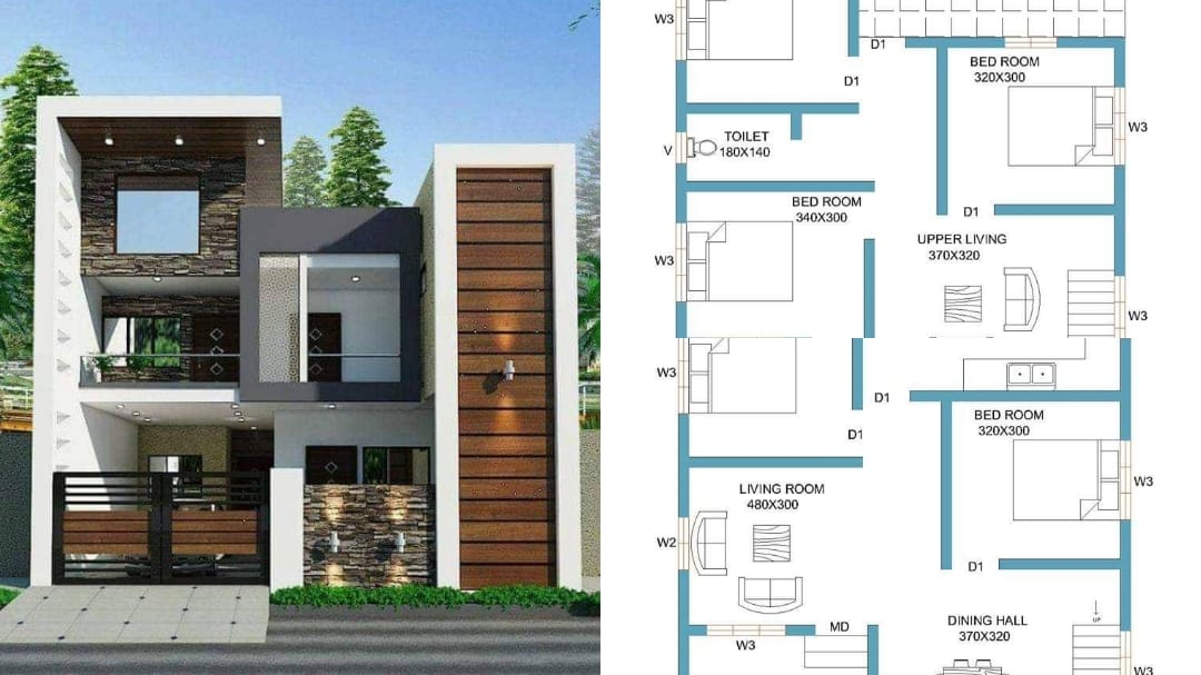 Photo of 1660 Square Feet 5 Bhk Contemporary Style Double Floor Modern house and Plan