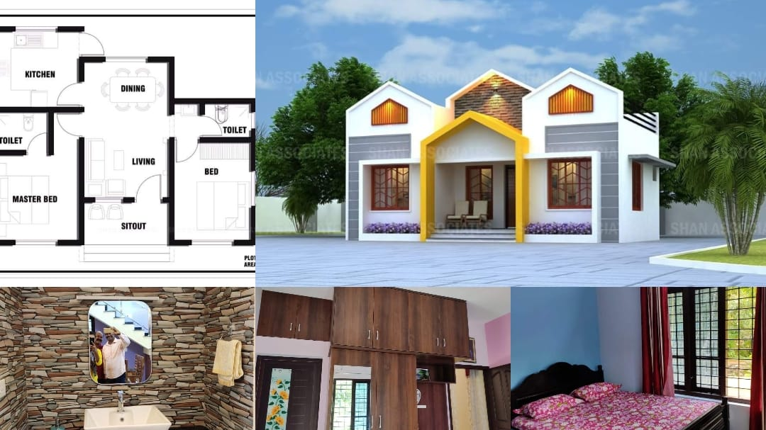 657 Square Feet 2 Bedroom Single Floor Low Budget House and Plan