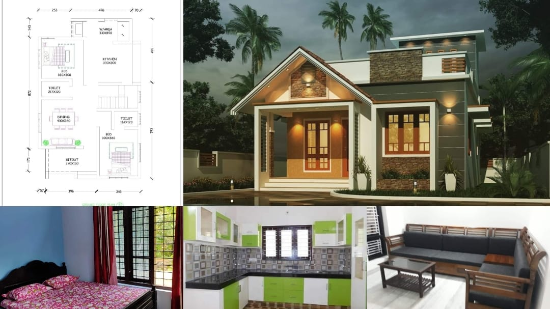 Photo of 700 Square Feet 2 BHK Single Floor Beautiful House and Plan For 10 Lack