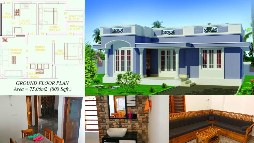 Photo of 808 Square Feet 2 Bedroom 11 Lack Budget Single Floor House and Plan