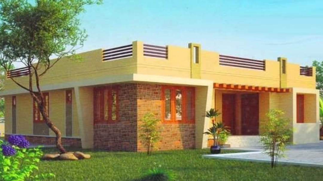 Photo of 981 Square Feet 3 Bhk Contemporary Style House and Plan