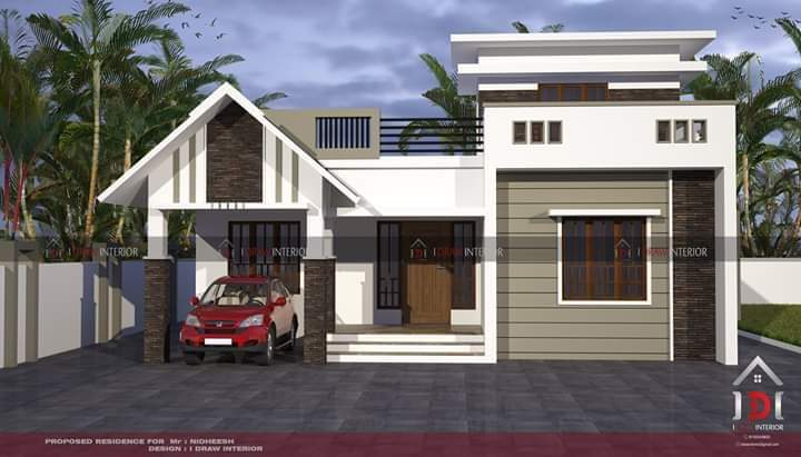 1000 Square Feet 2 Bedroom Single Floor Low Budget House and Plan