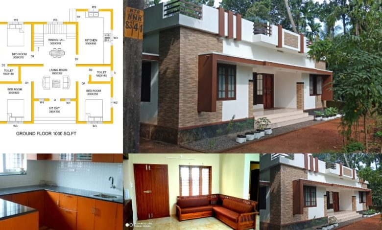 1000 Square Feet 3 Bedroom Single Floor Low Cost House and Plan