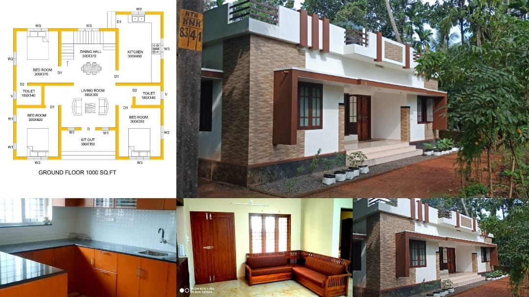 1000 Square Feet 3 Bedroom Single Floor Low Cost House And Plan Home Pictures