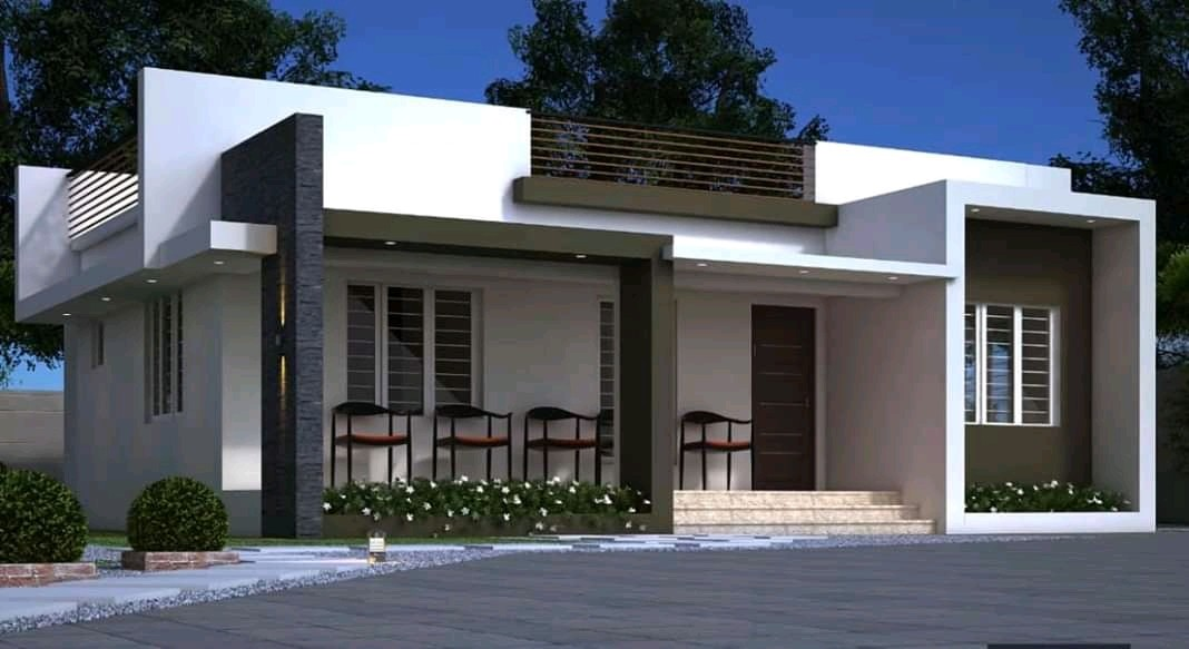 1050 Square Feet 3 Bedroom Single Floor Contemporary Style House and Plan