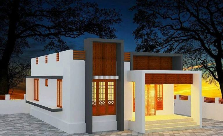 1118 Square Feet 2 Bedroom Single Floor Contemporary Style House and Plan