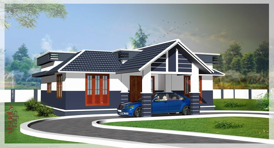 1121 Square Feet 2 Bedroom Traditional Style Single Floor House and Plan