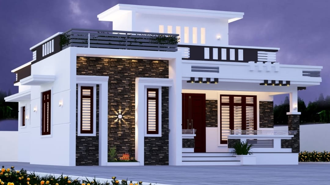 Photo of 1200 Square Feet 2 Bedroom Contemporary Style Single Floor Beautiful house