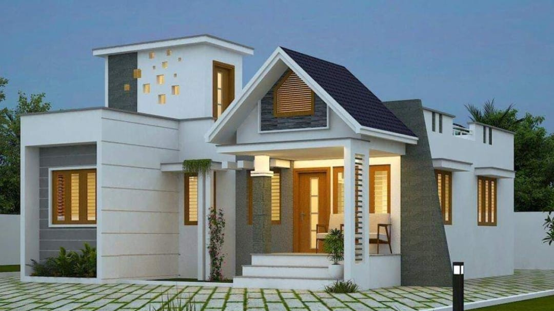 Photo of 1272 Square Feet 3 BHK Contemporary Style Single Floor House and Plan