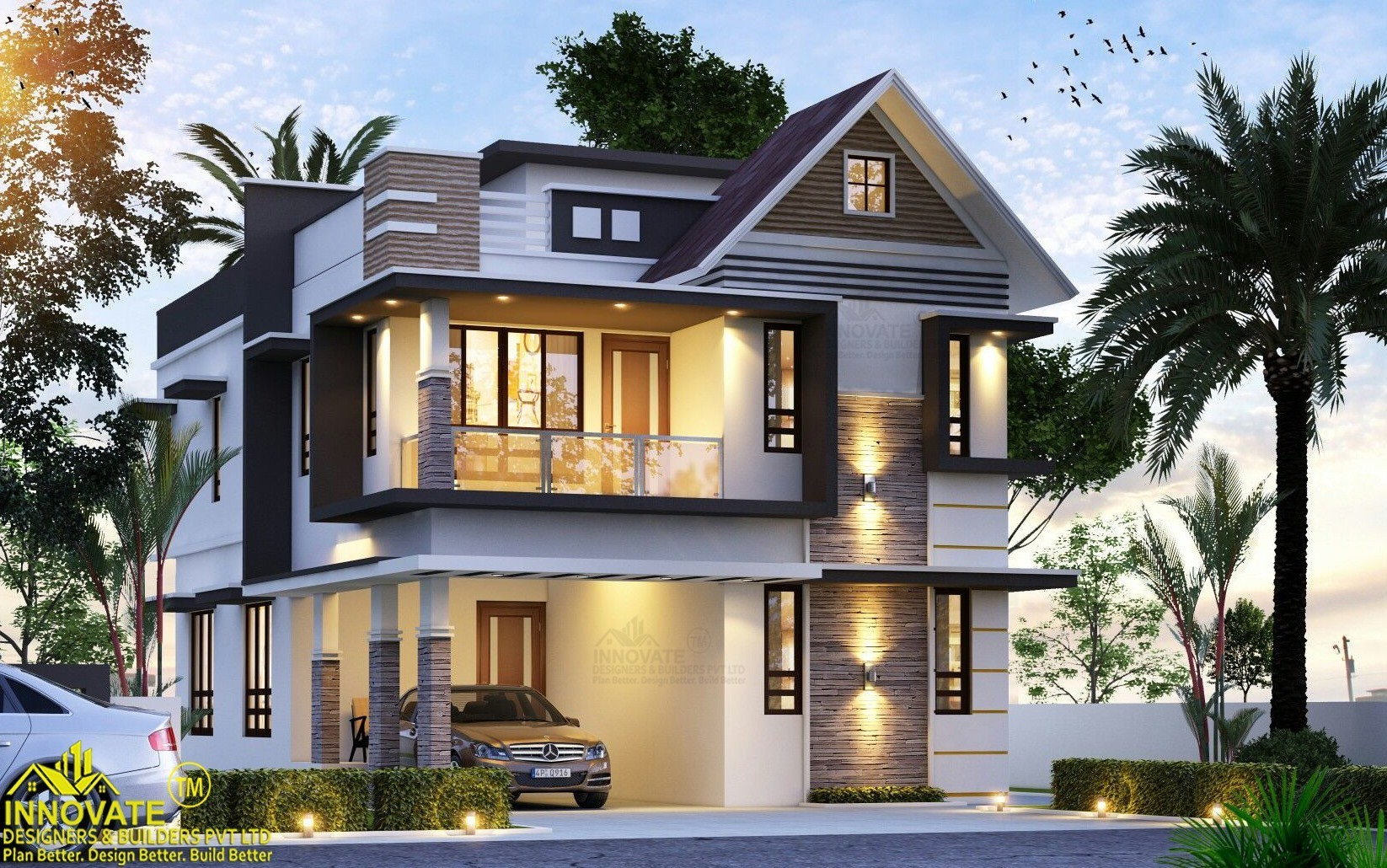 1730 Square Feet 3 Bedroom Two Floor Modern House and Plan