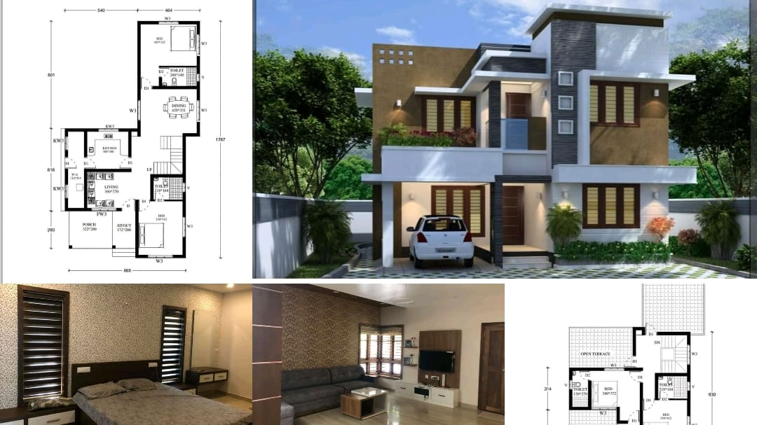 Photo of 1913 Sq Ft 4 BHK Contemporary Style Two Floor Home and Plan