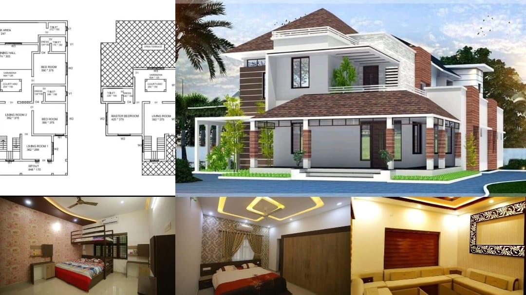 2850 Square Feet 4 Bedroom Mixed Roof Modern Two Floor House and Plan