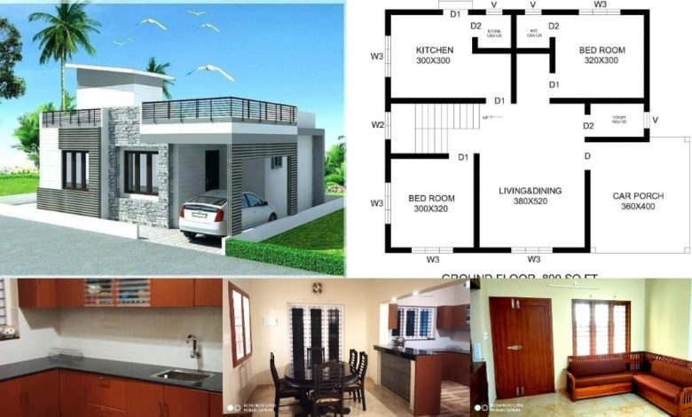 800 Sq Ft 2 Bedroom Contemporary Style Single Floor House and Plan