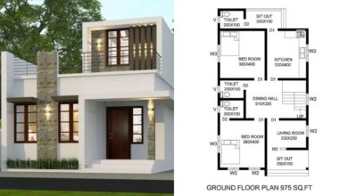 Photo of 975 Square Feet 2 BHK Contemporary Style Single Floor House and Plan