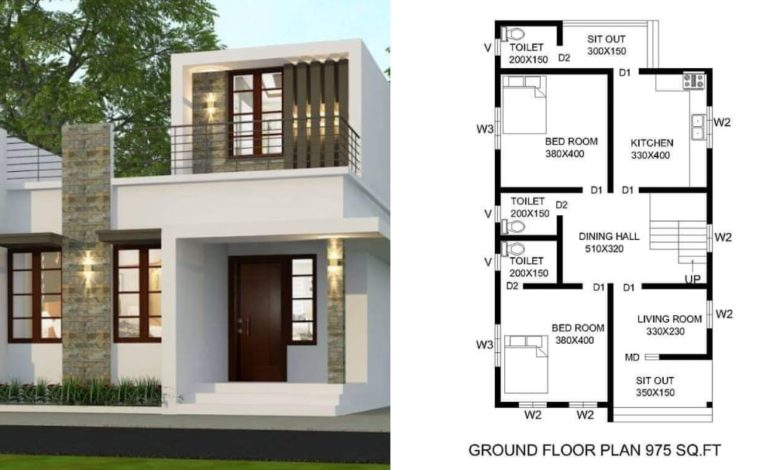 975 Square Feet 2 BHK Contemporary Style Single Floor House and Plan