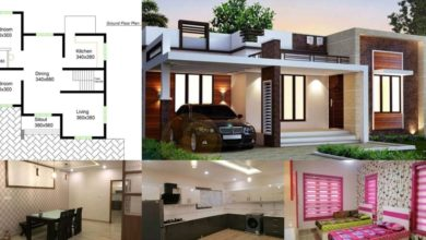 Photo of 980 Square Feet 2 Bedroom Contemporary Style Single Floor House and Plan