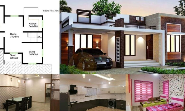 980 Square Feet 2 Bedroom Contemporary Style Single Floor House and Plan