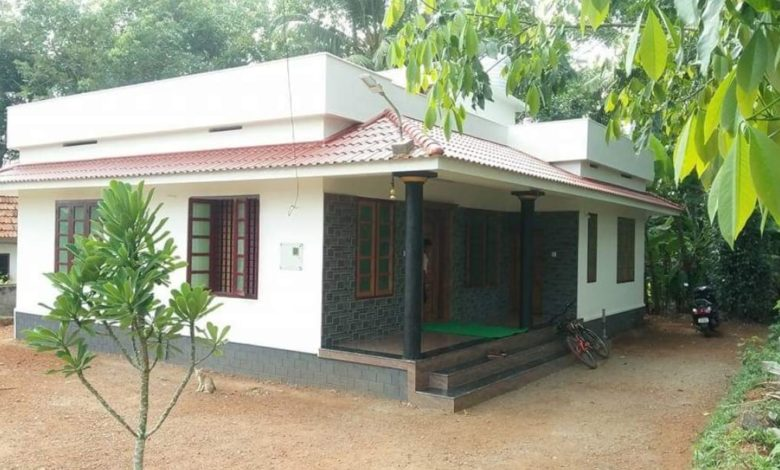 1065 Square Feet 2 Bedroom Single Floor Kerala Style House and Plan
