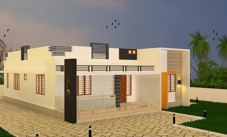 1223 Square Feet 3 BHK Modern Single Floor House and Plan