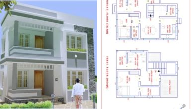 Photo of 1338 Square Feet 2 Bedroom Contemporary Style Double Floor House and Plan